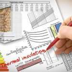 Engineer writing formulas and diagrams about thermal insulation and buildings energy efficiency - concept image